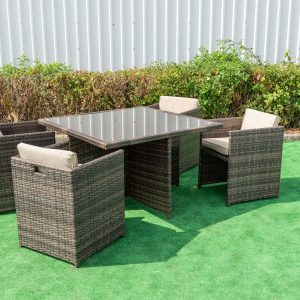 Sunny 5 Piece Cube Dining Set In Brown Mix