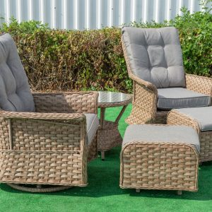 Rocking Glider Chair & Stool Set With Table In Checker Weave