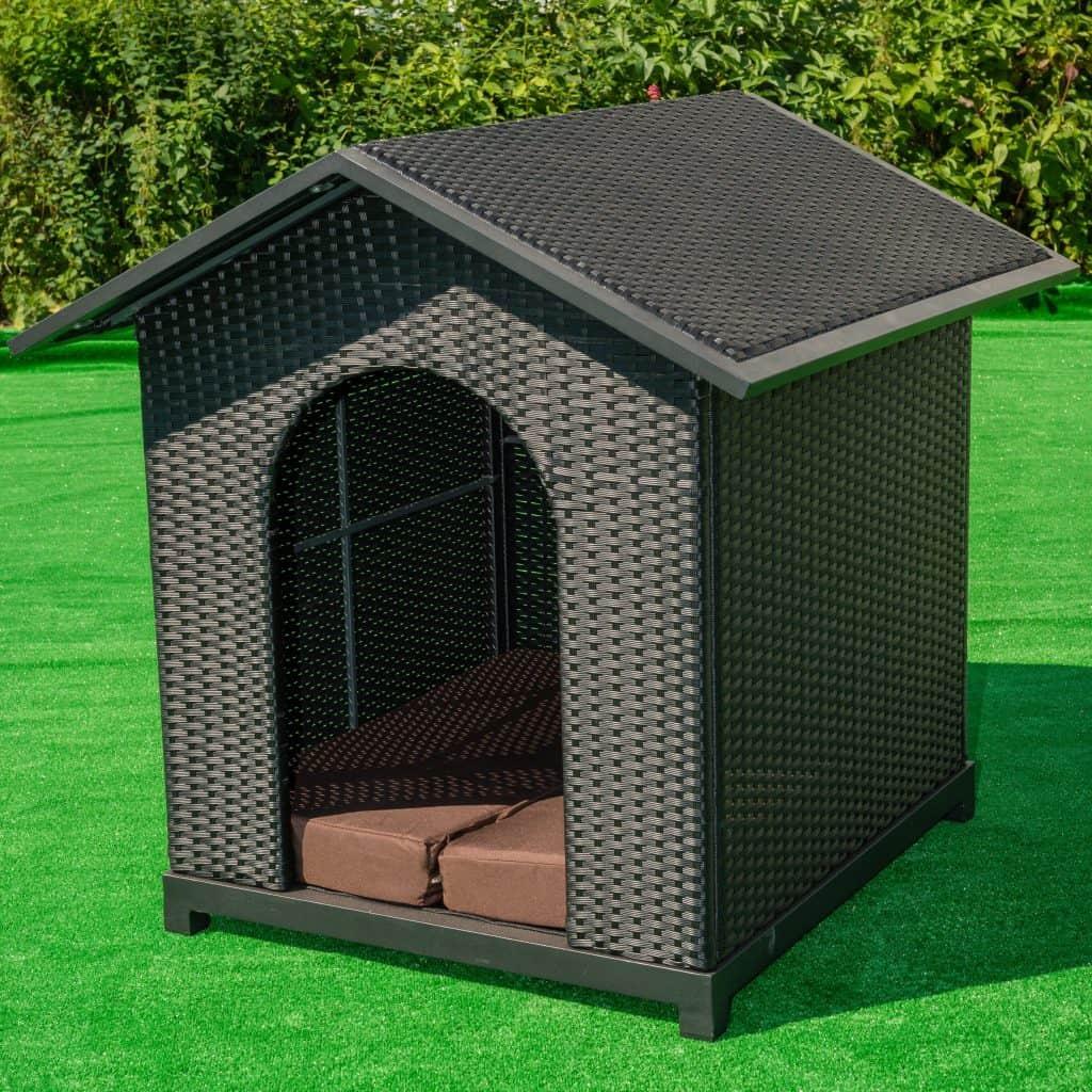 Luxury Dog Kennel Black Pu Rattan Rattanfurniture2go