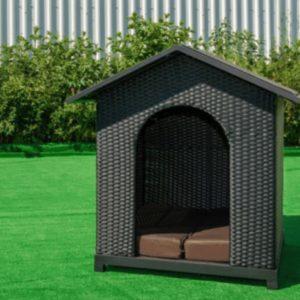 Luxury Dog Kennel Black Rattan