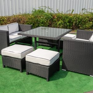 Barcelona 7 Piece Cube Dining Set In Black