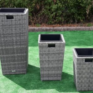 Set Of 3 Planters In Grey Mix Rattan