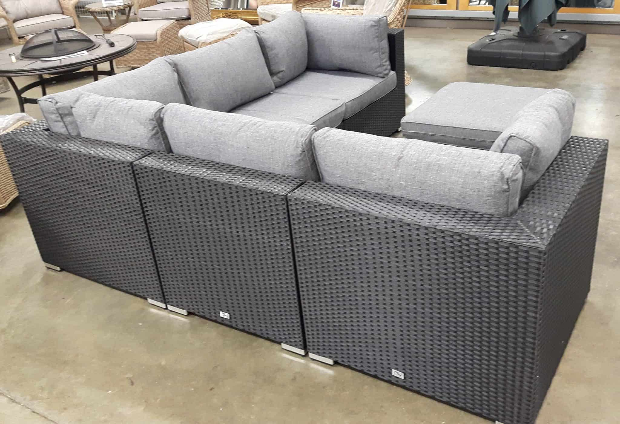 6 Piece Dorset Corner Sofa Set In Black Rattan Grey Cushions Rattanfurniture2go