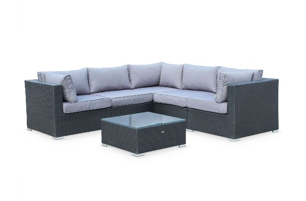 6 Piece Dorset Corner Sofa Set In Black Rattan Grey